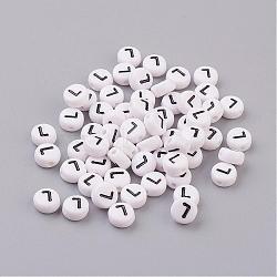 100 pcs rond et plat avec des perles acryliques lettre de l, blanc et noir, environ 7 mm de diamètre, trou: environ 1 mm(X-PL37C9070-L)