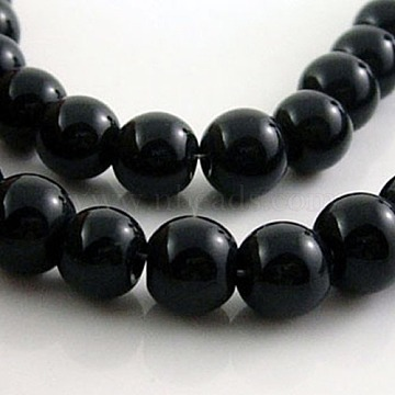 Glass Beads Strands, Round, Black, about 6mm in diameter, hole: 1mm, about 50pcs/strand, 13 inches(X-GR6mm27Y)