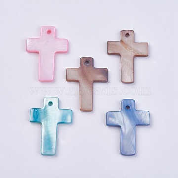 Shell Pendants, Dyed, Cross, Mixed Color, 22~23x17~19x2mm, Hole: 1.5mm(X-BSHE-P026-02)