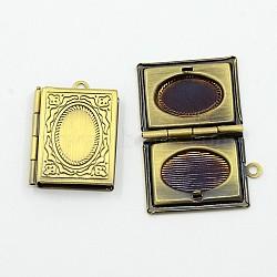 Романтические День Святого Валентина идеи для него с вашими фото латунных медальон подвесками, рамку подвески для ожерелья, античная бронза, прямоугольные, шириной около 19 мм, 26 мм длиной, отверстие : 2 мм(X-ECF136-2AB)