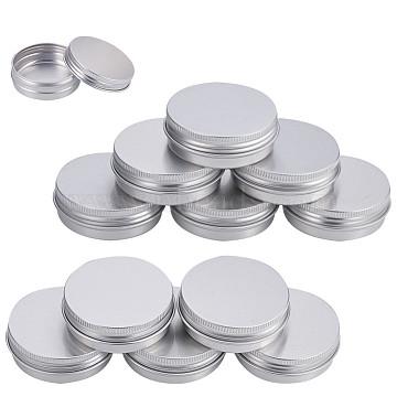 BENECREAT Round Aluminium Tin Cans, Aluminium Jar, Storage Containers for Cosmetic, Candles, Candies, with Screw Top Lid, Platinum, 6x2.1cm, Capacity: 40ml, 24pcs/box(CON-BC0004-26P-40ml)