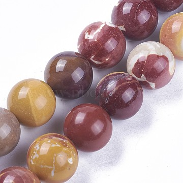 Natural Mookaite Beads Strands, Round, 17.5~18.5mm, Hole: 1.4mm; about 22pcs/strand, 15.7inches(39.9cm)(G-F607-16)