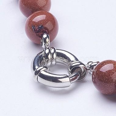 Synthetic Goldstone Beaded Necklaces(NJEW-G920-05)-3