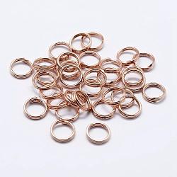 925 anneaux à double boucle en argent sterling, anneaux ronds, or rose, 4x2 mm; diamètre intérieur: 2.5 mm(STER-F036-01RG-1x4mm)