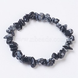 Natural Snowflake Obsidian Stretch Bracelets, Nuggets, 2-1/8 inches(5.5cm)(X-BJEW-JB03681-10)