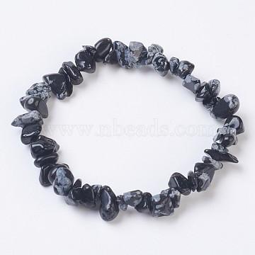 Natural Snowflake Obsidian Stretch Bracelets, Nuggets, 2-1/8 inches(5.5cm)(X-BJEW-JB03681-10)