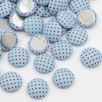 Scrapbook Embellishments Garment Accessories FlatBack Half Round Dome Polka Dot Cloth Fabric Covered Cabochons, with Aluminum Bottom, Platinum Metal Color, PaleTurquoise, 12.5x4mm(X-WOVE-F008-04)
