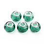 Glass European Beads, Large Hole Beads, with Silver Tone Brass Double Cores, Rondelle, Light Sea Green, 14.5x11.5mm, Hole: 5mm