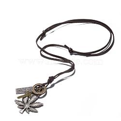 Pendentif en alliage de zinc et cordon en cuir colliers de lariat hommes réglables, feuille de pot et croix, coconutbrown, argent antique, 8.1(NJEW-BB16012-B)