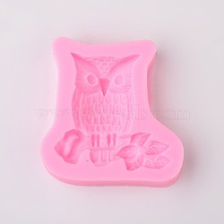 Cute Owl Design DIY Food Grade Silicone Molds, Fondant Molds, For DIY Cake Decoration, Chocolate, Candy, Soap, UV Resin & Epoxy Resin Jewelry Making, Random Single Color or Random Mixed Color, 58x57x1