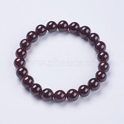 "Bracelets extensibles en perles de grenat naturel, rond, 2"" (52 mm)(BJEW-I253-8mm-03)"