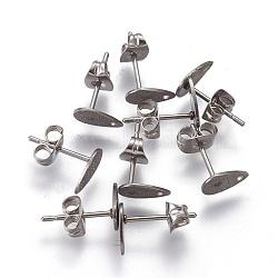 304 accessoires boucle d'oreille de goujon en acier inoxydable, goutte , couleur inoxydable, 8x5x0.7mm, trou: 1 mm; broches: 0.7(STAS-O119-12A-P)