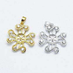 pendentif en argent sterling avec zircons cubiques, pour la moitié de perles percées, sculpté 925, fleur, couleur mélangée, 21x19x4 mm, trou: 3x4 mm, pin: 0.7 mm(STER-G028-030)