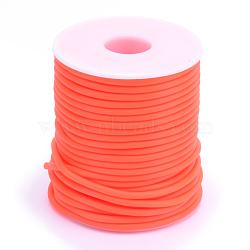 Tuyau creux corde en caoutchouc synthétique tubulaire pvc, enroulé aurond de plastique blanc bobine, orange rouge , 3mm, trou: 1.5 mm; environ 25 m / rouleau(RCOR-R007-3mm-04)