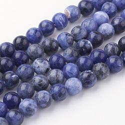 Chapelets de perles en sodalite naturel, rond, Grade a, 8~8.5mm, trou: 1mm; environ 45~47 pcs/chapelet, 14.9'' (38 cm)(G-G735-58-8mm-A)