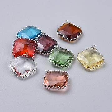 Platinum Mixed Color Rhombus Brass+Glass Pendants
