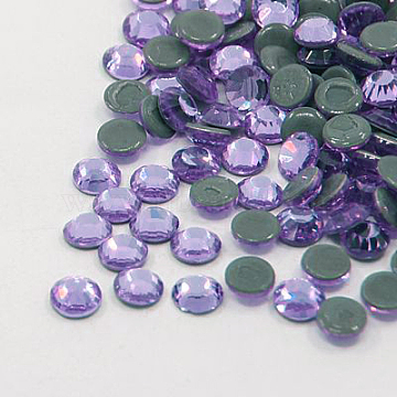 Glass Hotfix Rhinestone, Grade AA, Flat Back & Faceted, Flat Round, Violet, SS16, 3.8~4.0mm; about 1440pcs/bag(RGLA-A019-SS16-371)