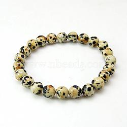 """Bracelets de jaspe dalmatien, avec cordon élastique, navajo blanc, 2"""" (52 mm)(X-BJEW-G073-16)"""