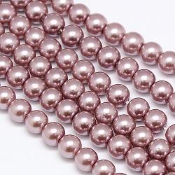 Chapelets de perles rondes de perles de verre teint dans l'environnement, cordon en coton fileté, rosybrown, 8mm, trou: 0.7~1.1mm; environ 52 pcs/chapelet, 15