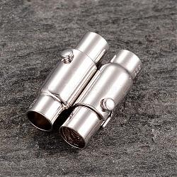 Plaqué platine fermoirs magnétiques de colonne en argent sterling, 17.5x6mm, Trou: 4mm(STER-K014-H990-4mm-P)