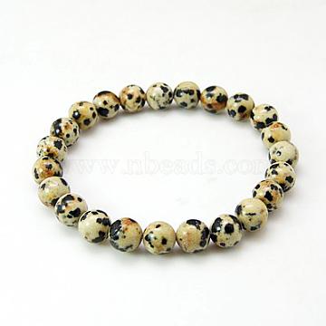 Dalmatian Jasper Bracelets, with Elastic Cord, Navajo White, 2 inches(52mm)(X-BJEW-G073-16)