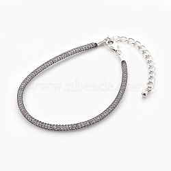 Brasss Mesh Chain Bracelets, with Glass Beads inside and Lobster Claw Clasps, Clear, Gunmetal, 6-7/8inches(17.6cm)~7-1/4inches(18.5cm)(BJEW-F358-01B)