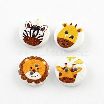 2-Hole Animal Pattern Printed Wooden Buttons, Flat Round, Mixed Color, 15x4mm, Hole: 2mm(X-BUTT-R033-017)