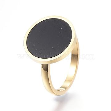 304 Stainless Steel Finger Rings, with Resin, Flat Round, Size 9, Golden, 19mm(RJEW-G074-05A-19mm)