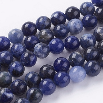 Natural Sodalite Beads Strands, Round, 8mm, Hole: 1mm, about 24pcs/strand, 7.6inches(X-G-G515-8mm-07)