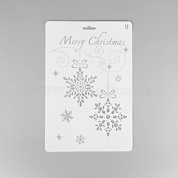 Creative Christmas Plastic Drawing Stencil, Hollow Hand Accounts Ruler Templat, For DIY Scrapbooking, White, 25.9x17.2cm(X-DIY-L007-09)
