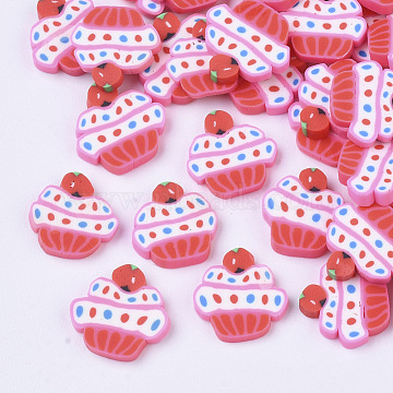 Handmade Polymer Clay Cabochons, Cup Cake, Red, 9~11x9.5~11x1.5~3.5mm(X-CLAY-R087-10)