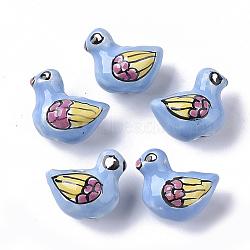 Handmade Porcelain Beads, Famille Rose Style, Bird, Deep Sky Blue, 13~15x15~16x11mm, Hole: 1.8mm(X-PORC-N004-63)