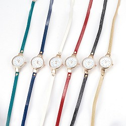 Alloy Watch Head Bracelet Watches, with PU Leather and Rhinestone, 3-Loop, Wrap Bracelets, Flat Round, Mixed Color, 21.9inches(55.8cm), 6mm(WACH-P017-G)