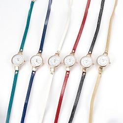 """Montre en alliage montres bracelet tête, Avec cuir pu et strass, 3-loop, Les bracelets d'enveloppe, plat rond, couleur mixte, 21.9"""" (55.8 cm), 6mm(WACH-P017-G)"""