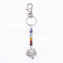 Tibetan Style Alloy Keychain, with Natural Gemstone Beads, Iron Key Rings and Alloy Swivel Lobster Claw Clasps, Tree, Mixed Color, 143mm(KEYC-JKC00150-02)