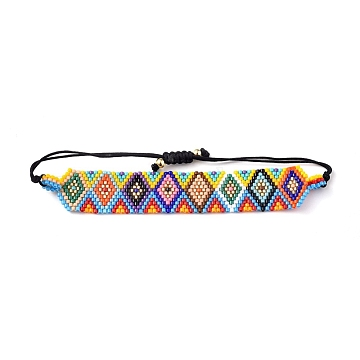 Adjustable Glass Seed Beads Braided Bead Bracelets, Rhombus, Colorful, 1-3/8 inches~2-3/4 inches(3.7~7.1cm)(BJEW-D442-33)