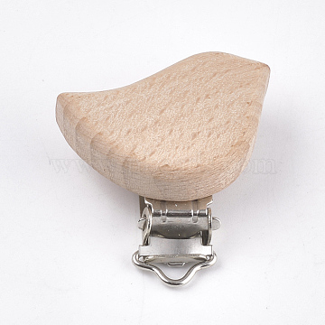 Beech Wood Baby Pacifier Holder Clips, with Iron Clips, Bird, Platinum, BurlyBeech Wood, 47x42x18mm, Hole: 3.5x6mm(WOOD-T015-06)