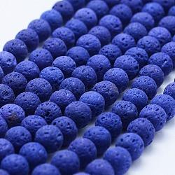 lave naturelle brins de perles, teints, arrondir, bleu, 8 mm, trou: 1 mm; environ 48 perle / brin, 15(X-G-F531-8mm-G12)