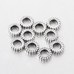 Серебра антиквариата тибетские серебряные пончик разделительные бусины, без кадмия, без никеля и без свинца, шириной 7 мм , 2 мм длиной, отверстие : 3.5 мм