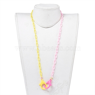 Personalized Two Tone ABS Plastic Cable Chain Necklaces(NJEW-JN02825-03)-4