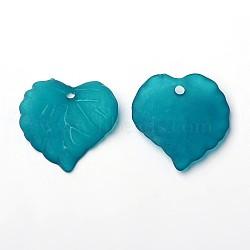 Sarcelle acryliques pendentifs feuilles dépoli transparent, teint, longueur d'environ 16 mm ,  largeur de 15 mm, épaisseur de 2mm, Trou: 1.2mm(X-PL591-11)