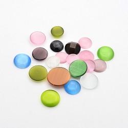 Mixte chat cabochons oculaires, demi-rond / dôme, couleur mixte, 12~15x4~4.5mm, environ 200 g /sachet (CE-D063-16)