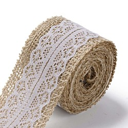 Burlap Ribbon, Hessian Ribbon, Jute Ribbon, with Lace, for Jewelry Making, White, 1-1/2 inch(38mm), about 2m/roll(X-OCOR-S126-04)