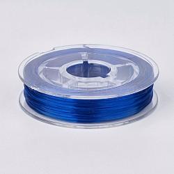 chaîne de cristal élastique plat, fil de perles élastique, pour la fabrication de bracelets élastiques, bleu, 0.4 mm, 15 m / rouleau(EW-G010-A03)