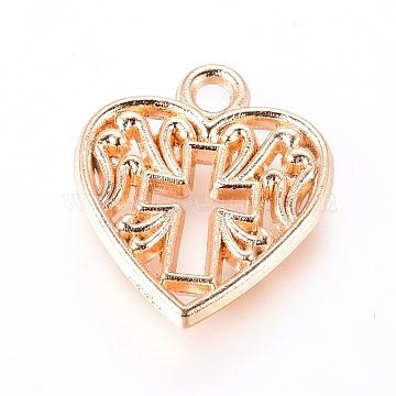 Alloy Pendants, Heart with Cross, Light Gold, 16x14x2mm, Hole: 1.8mm(X-PALLOY-E564-53KCG)