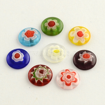 Handmade Millefiori Glass Cabochons, Half Round/Dome, Mixed Color, 10x3mm(X-LK-R005-19)