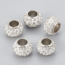 Handmade Alloy Polymer Clay Rhinestone Beads, Large Hole Beads, Rondelle, Platinum, Crystal, 13x9mm, Hole: 6.5mm(X-RB-S049-09)