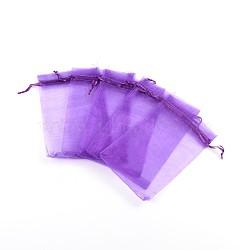 Sacs en organza, avec des rubans, blueviolet, 15x10 cm(X-OP-R016-10x15cm-20)