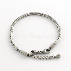 304 serpent en acier inoxydable de style européen bracelets chaînes, avec fermoir, couleur inox, 195x3 mm(X-STAS-R066-04)