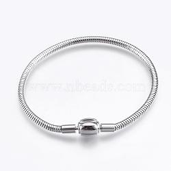 """304 chaîne de serpent rond en acier inoxydable de style européen, avec des agrafes, couleur inoxydable, 7-7/8"""" (20cm); 3mm(STAS-I097-005A-P)"""